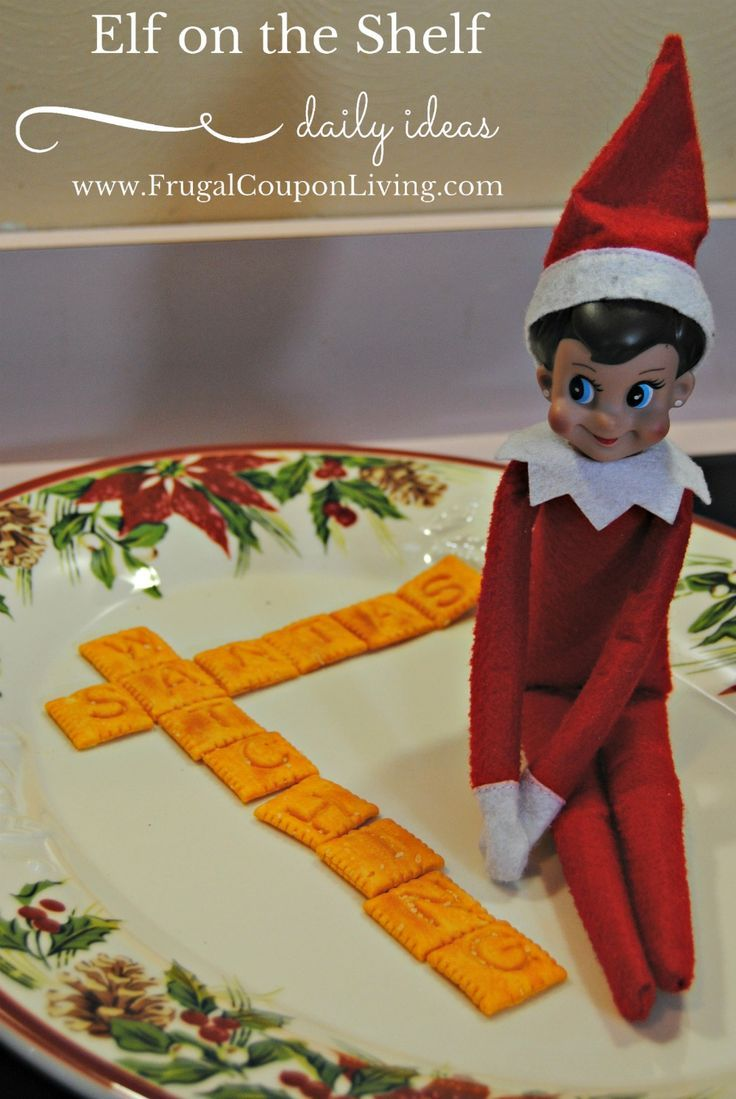 Elf on the Shelf Ideas | Elf Scrabble Message - Santa's Watching or say plenty of other messages! 100+ ideas on Frugal Coupon Living.