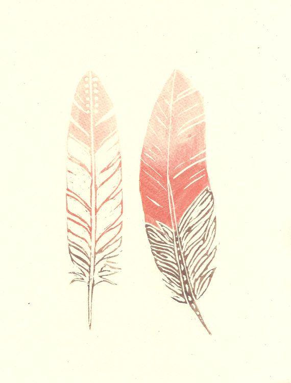 Mocha Brown, Coral and Peach Modern Boho Feather Watercolour Painting - Original Modern Art - Home Decor
