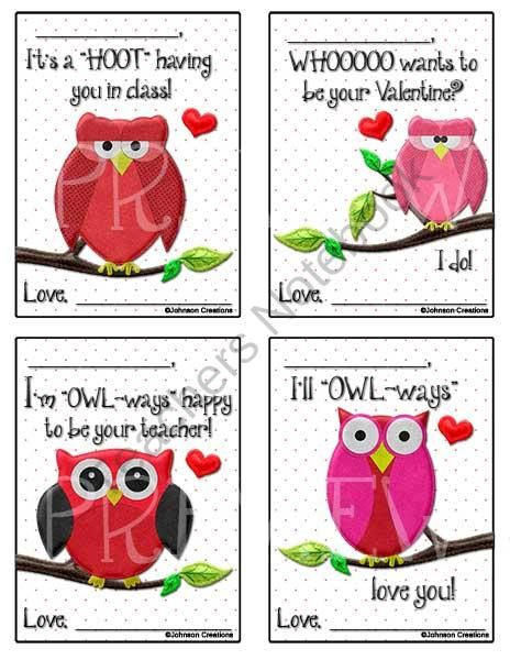 owl valentines product from johnson creations on teachersnotebookcom - Clever Valentine Sayings