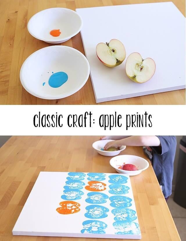 Fun, cute idea for a baby or kid room using apples, paint, and canvas