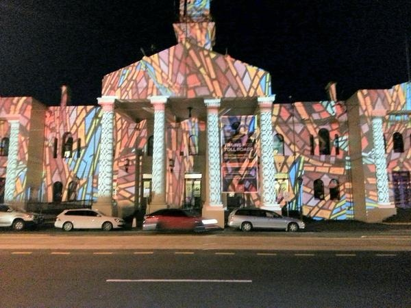 Richmond Town Hall 2012 Christmas Projections by Nick Azidis.    Photo by @Syneka Marketing    http://www.yarracity.vic.gov.au/hot-topics/richmond-town-hall-to-light-up-the-night/