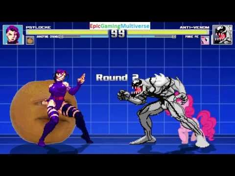 The Annoying Orange And Psylocke VS Pinkie Pie And Anti-Venom In A MUGEN Match / Battle / Fight This video showcases Gameplay of Pinkie Pie From The My Little Pony Friendship Is Magic Series And Anti-Venom VS Psylocke The Superheroine And The Annoying Orange In A MUGEN Match / Battle / Fight