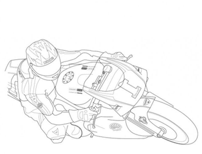 Moto De Course En Couleur Sketches Art