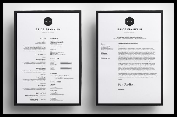 **Resume / CV Template - Brice** --- Part of the **BLACK Collection** - Resume/CV - Bailey - - Resume/CV - Blake - --- Introducing 'Brice', a simple, vertical design which includes a single
