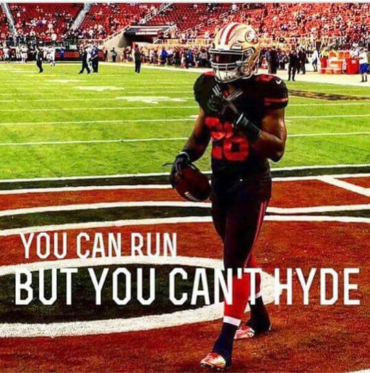 9/14 Carlos Hyde ran for 168yds and 2 TD's as the 49ers beat the Vikings 20-3