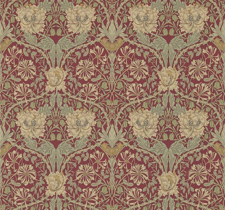 Honeysuckle and Tulip Red / Gold wallpaper by Morris
