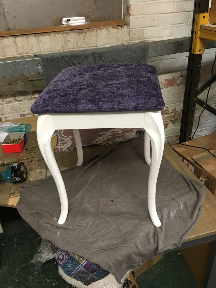 White stool with Purple fabric cushion