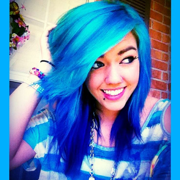 Manic Panic hair color: Atomic Turquoise, Rockabilly Blue, and Ultra Violet #ManicPanic #hair