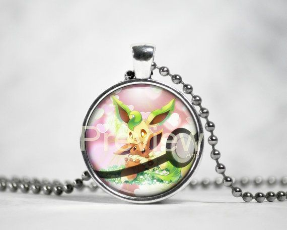 Eevee and Leafeon Pendant Eevee evolution by PokemonyByAnn on Etsy
