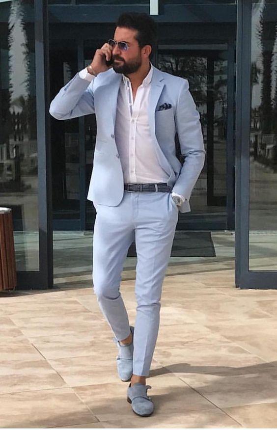 Roupa de Homem para Trabalhar. Macho Moda - Blog de Moda Masculina: Roupa de Homem para Trabalhar no Verão 2018, dicas para Inspirar! Moda para Homens, Como se vestir para Trabalhar Homem, Roupa de Escritório Masculina, Costume Azul claro, Sapato Azul, Calça Skinny Social Cropped