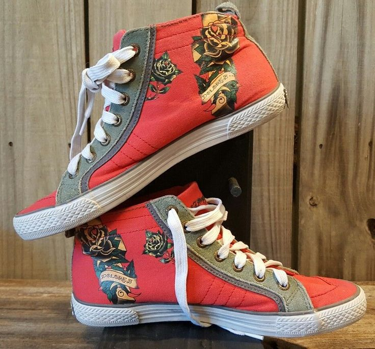 Don Ed Hardy PZ-7953 Dolores Red Hightops Size 9 #EdHardy #Hightops