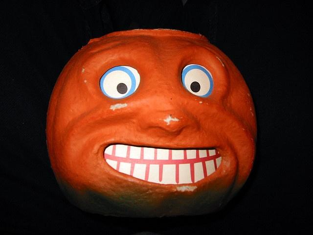 pumpkin grin paper mache jack o lantern, via Flickr.: Collection Galleries, Vintage Pumpkin, Vintage Wardrobe, Halloween Pumpkins, Pumpkin Decor, Maps App, Photo, Jack-O'-Lantern, German Halloween