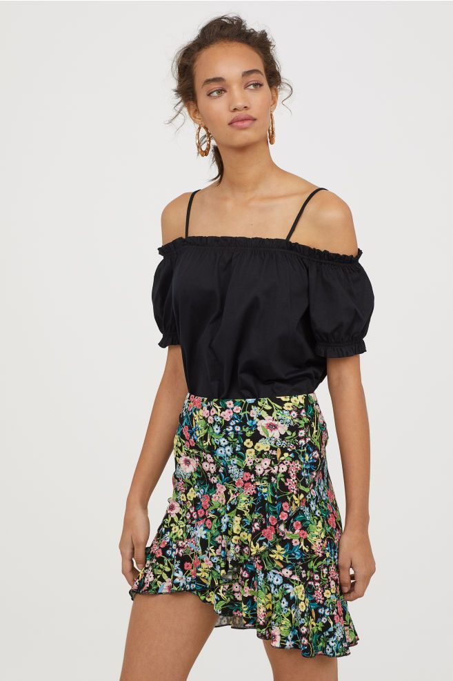 5b4e908c02fdcc Off-the-shoulder Top - Black - Ladies