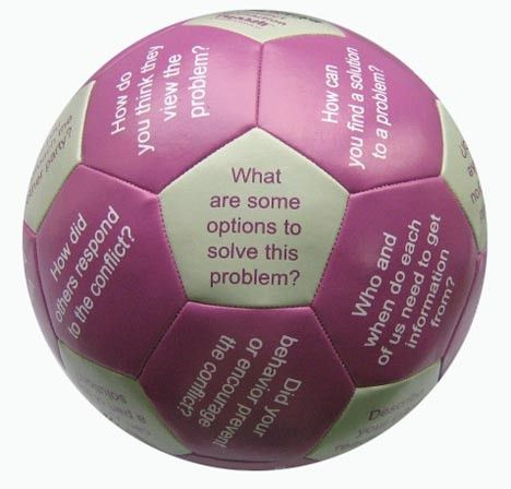 Conflict Resolution Thumball: 32 different conflict resolution or peer mediation questions pre-printed on the panels of the ball.