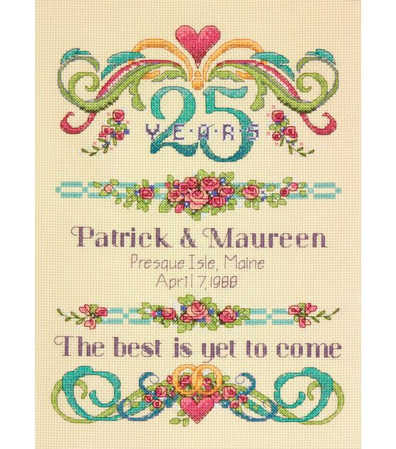 """Vintage Sampler Anniversary Record Counted Cross Stitch Kit-9""""X12"""" 14 Count, , hi-res"""
