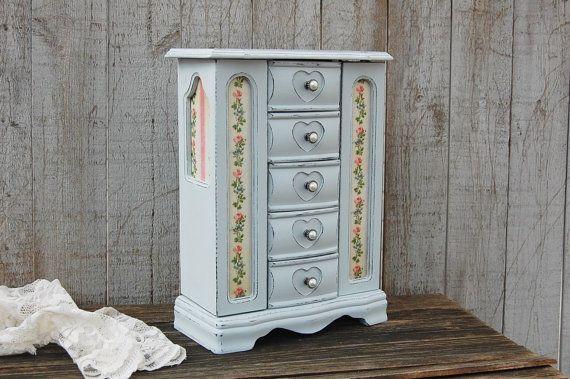 Jewelry Armoire, Jewelry Box, Shabby Chic, Grey, Pink, Decoupage, Large, Tall, Hand Painted, Gift for Mom, Gift for Wife, Gift for Her
