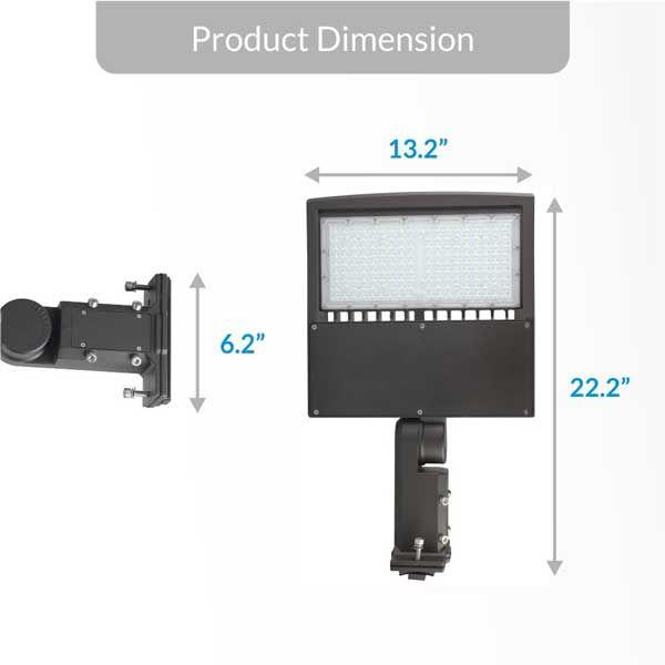 240w Led Pole Light With Photocell 5700k Universal Mount Bronze Ac100 277v Ledmyplace Led Pole Light
