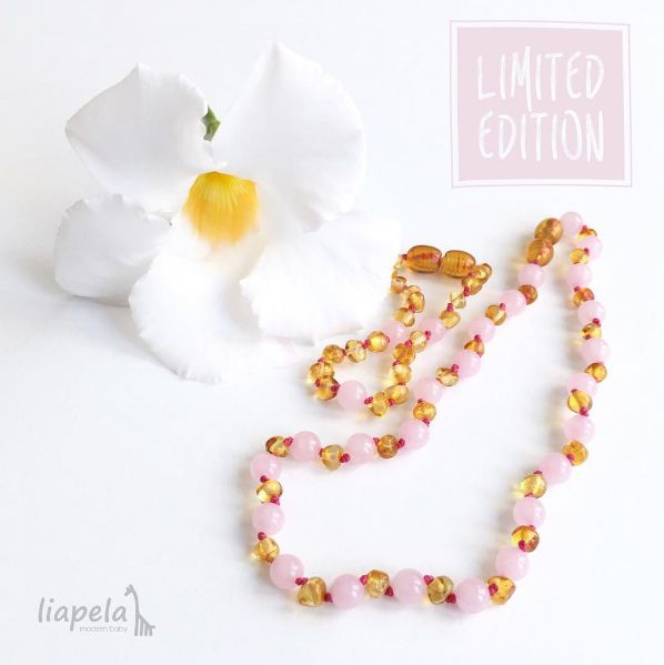 Baltic Amber & Pink Quartz necklaces for Babies offer not only teething benefits, but they are also stylish & beautiful looking accessories. This Set USD$35.99 + Free shipping, consists of a custom made necklace and bracelet. The beautiful amber necklace has pink quartz beads in between making it the perfect accessory for your little girl. The necklace has a pop clasp that will open easy if you pull hard and the bracelet has a screw clasp. Like on Instagram @LiapelaModernBaby