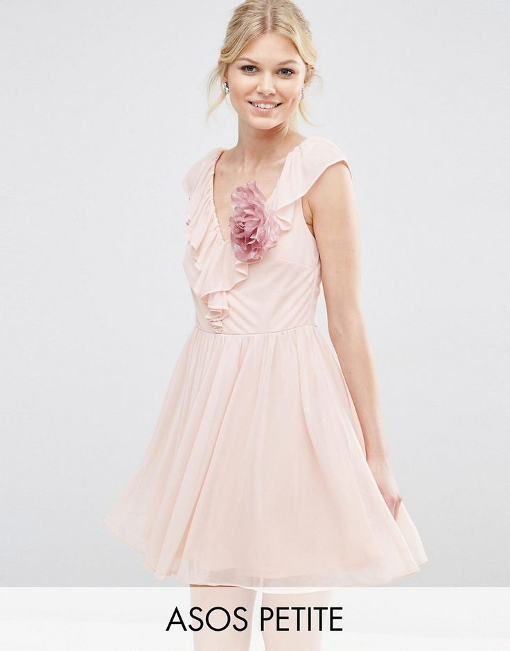 ASOS PETITE Ruffle V Front Mini Dress With Corsage - Pink