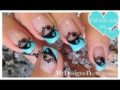 Valentine's+Day+Nail+Art+|+Blue+and+Black+French+♥+Дизайн+Ногтей+на+День+Валентина