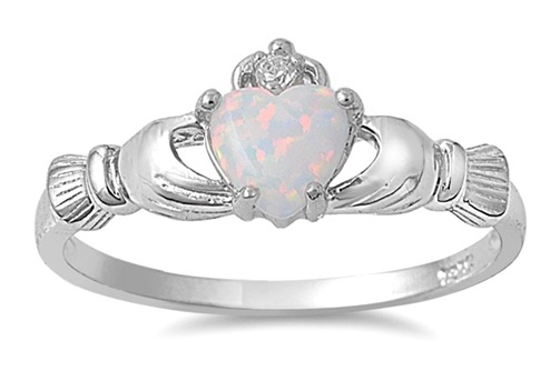 'Sz 4-9 .925 Claddagh White Opal Ring ' is going up for auction at 12pm Thu, Jun 21 with a starting bid of $20.