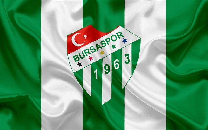 Descargar fondos de pantalla Bursaspor, Bursa, fútbol, club de fútbol turco, el emblema, Bursaspor logotipo de seda de color verde bandera, Turquía, turco Campeonato de Fútbol