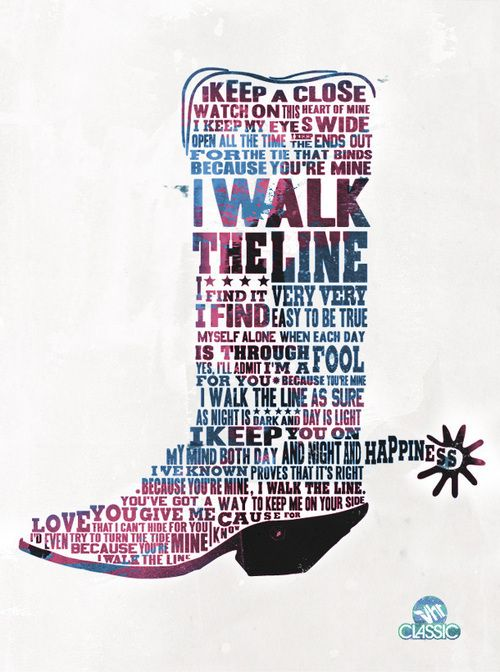 """Walk the Line"" lyrics, in a boot. I want this framed!"