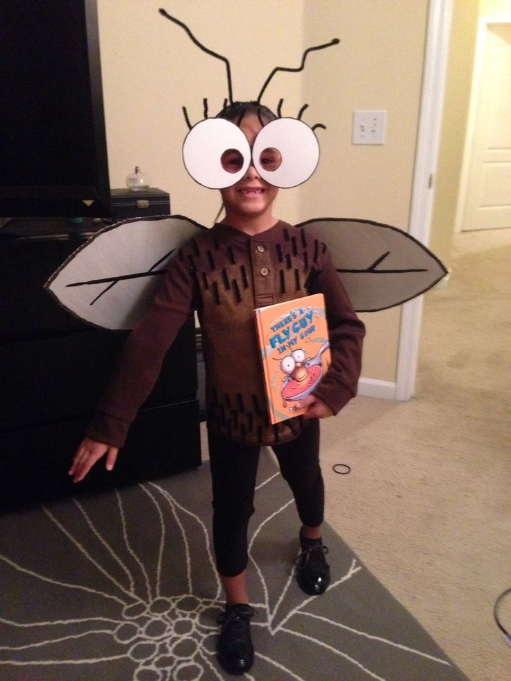Homemade Fly guy costume for fall into books.