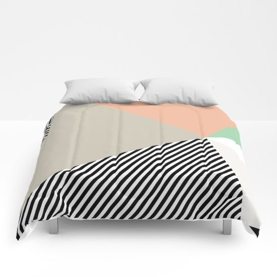 Stripes & Triangles - Peach & Mint Comforters