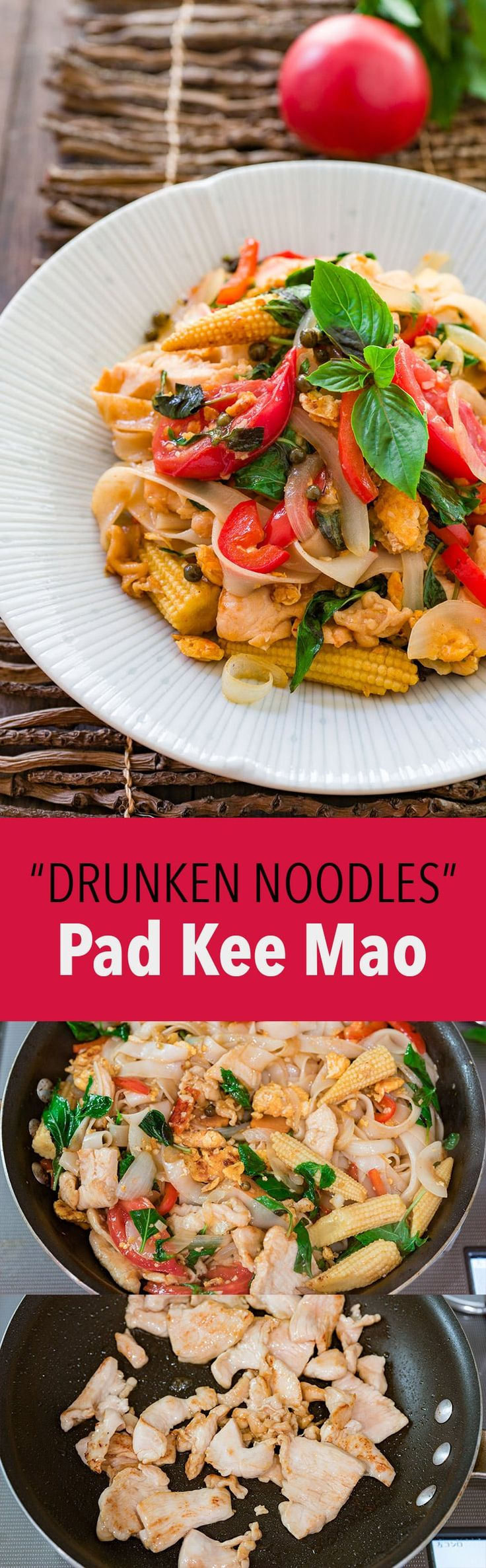 "Pad Kee Mao literally means ""fried drunkard"" but it's a delightfully flavorful Thai noodle dish loaded with a random assortment of vegetables and protein."