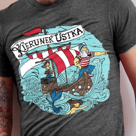 shirt design for Ustka - popular tourist destination by Baltic Sea.