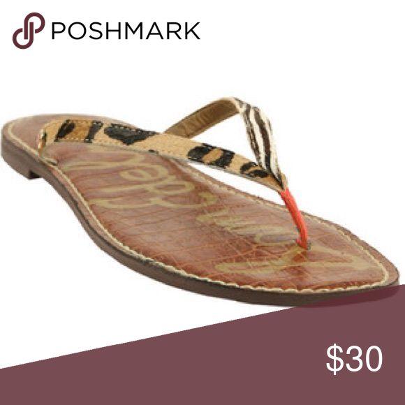 Sam Edelman animal print Flip Flop Sandals EUC sandal.leather upper. Works well with everything.  Size 9 Sam Edelman Shoes Sandals