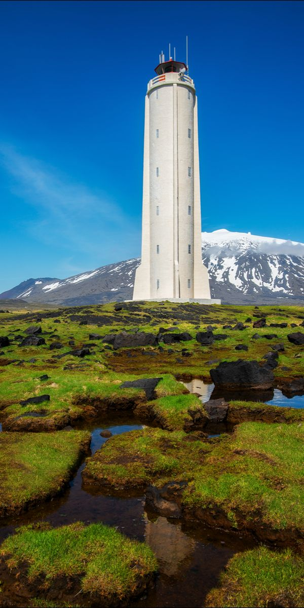White lighthouse, Iceland
