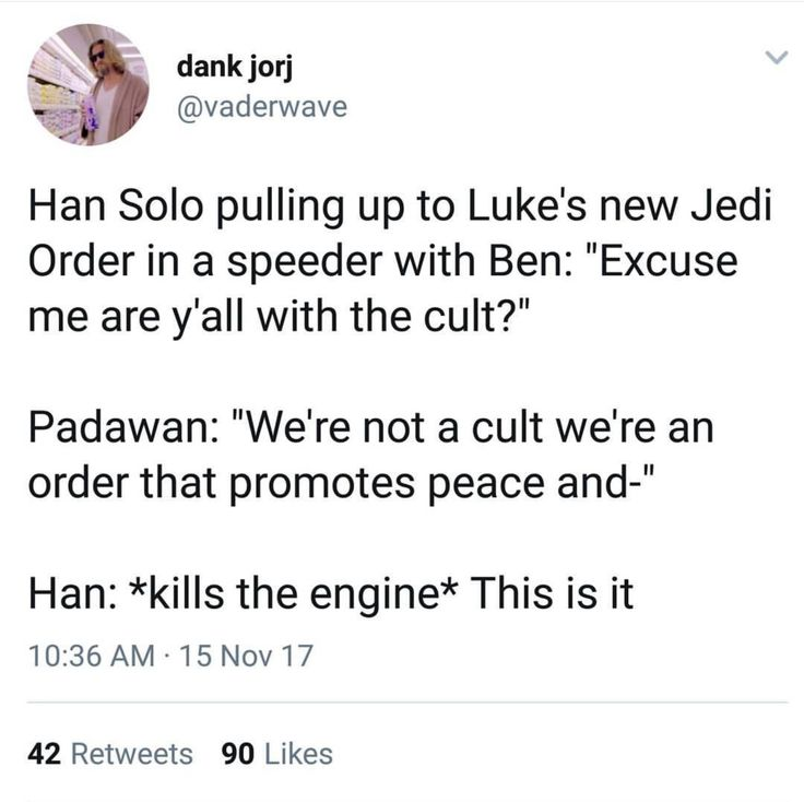 You with the cult? Han dropping Been off for Luke to train