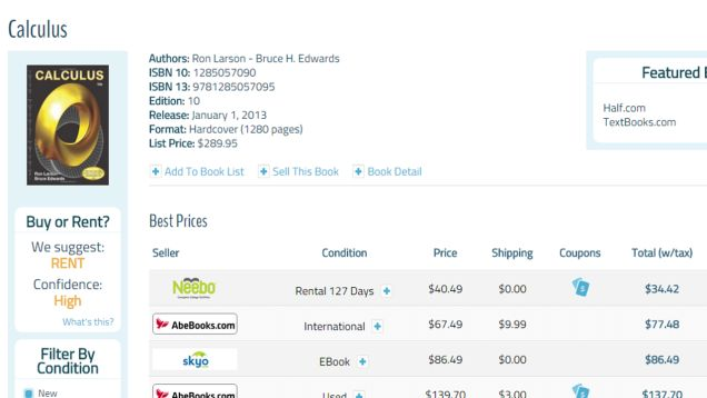 CampusBooks Compares Textbook Rental vs. Purchase Prices