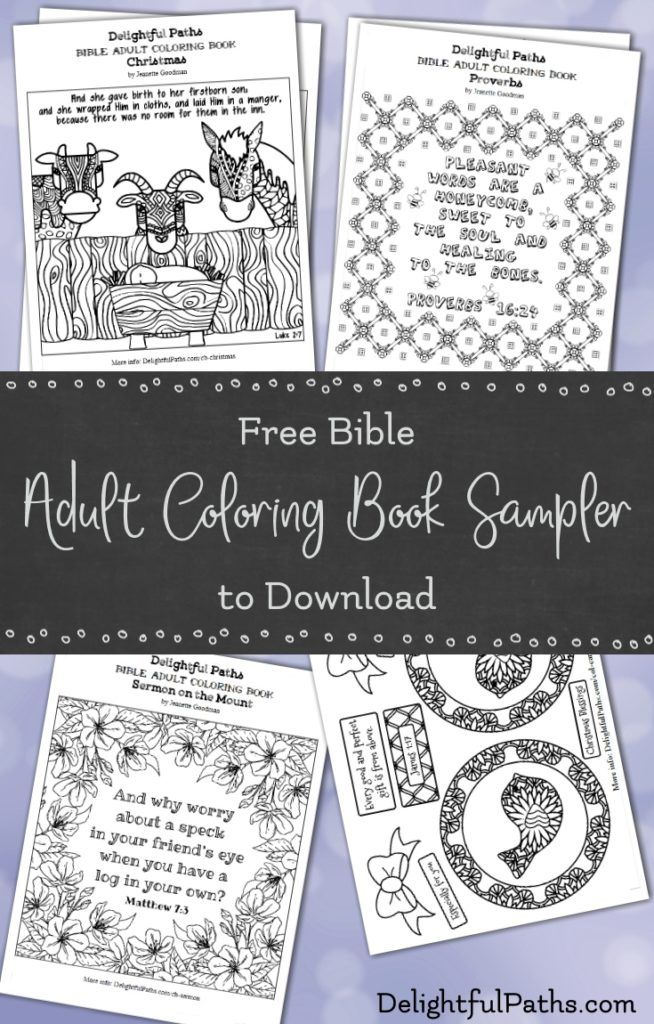 Click through to download this free Bible adult coloring book sampler containing coloring pages and coloring crafts.