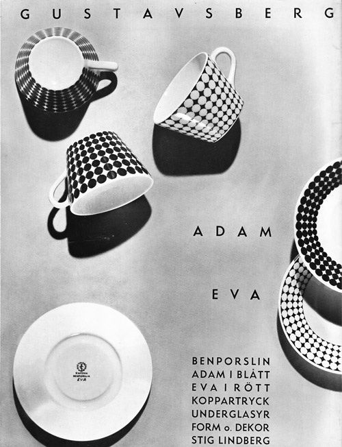STIG LINDBERG, advertising for Adam & Eva bone china service, 1959, manufactured by Gustavsberg, Sweden. / design-is-fine
