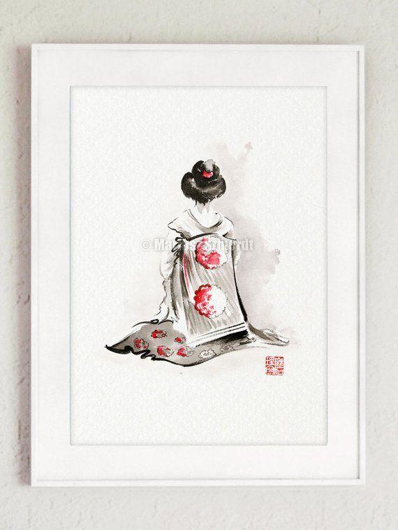 Geisha, Japanese woman, japan art, fine art print,…