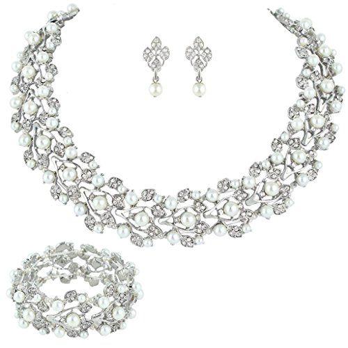 EVER FAITH Women's Austrian Crystal Cream Simulated Pearl Bridal Vine Dangle Earrings Clear Silver-Tone 7QqCM1D