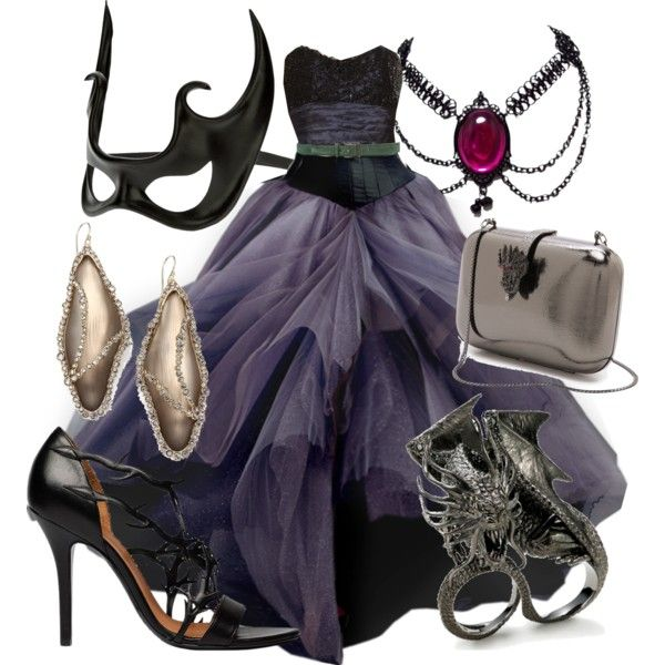Maleficent Masquerade by alittletoulouse on Polyvore featuring polyvore, fashion, style, Marchesa, Jean Pierre Bua, Serpui, Alexis Bittar and Giordano Frangipani