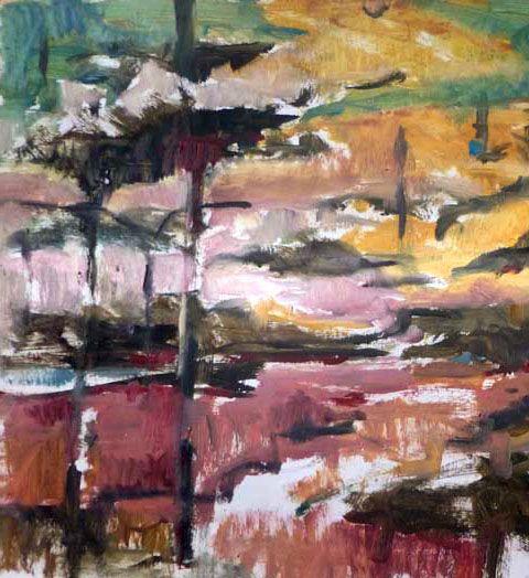 Autumn Forest sketch painting. Eduard Moes Dutch artist.