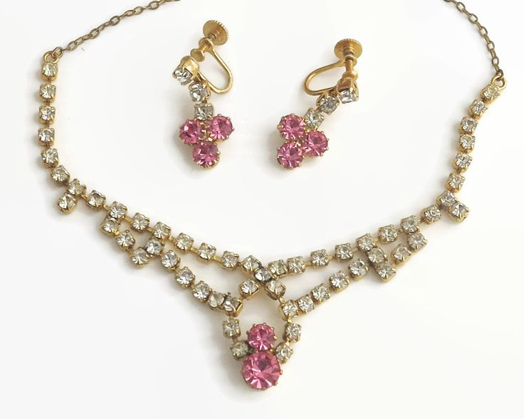 Vintage rhinestone necklace and earrings set, clear and pink rhinestones, screw back earrings, gold plated setting, circa 1950s by CardCurios on Etsy
