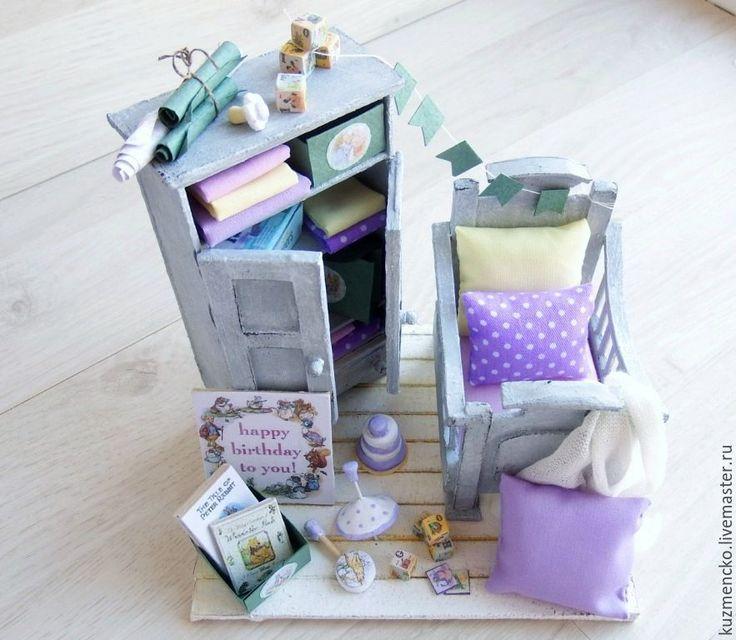 """Купить Румбокс детская спальня """"Сиреневые сны"""" - бледно-сиреневый, миниатюра, миниатюра для кукол"""