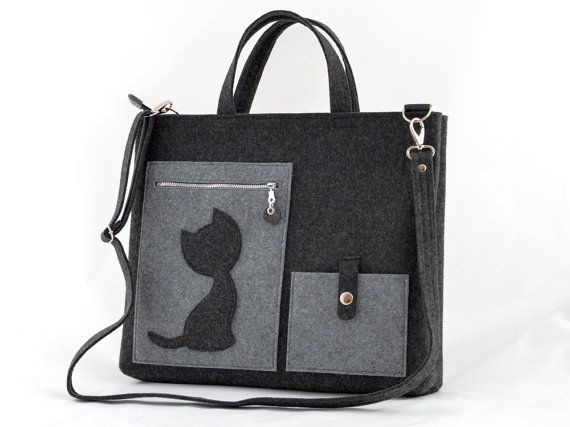 Laptop Felt Bag with a Cat Messenger Grey big Size by GreenSheepPL