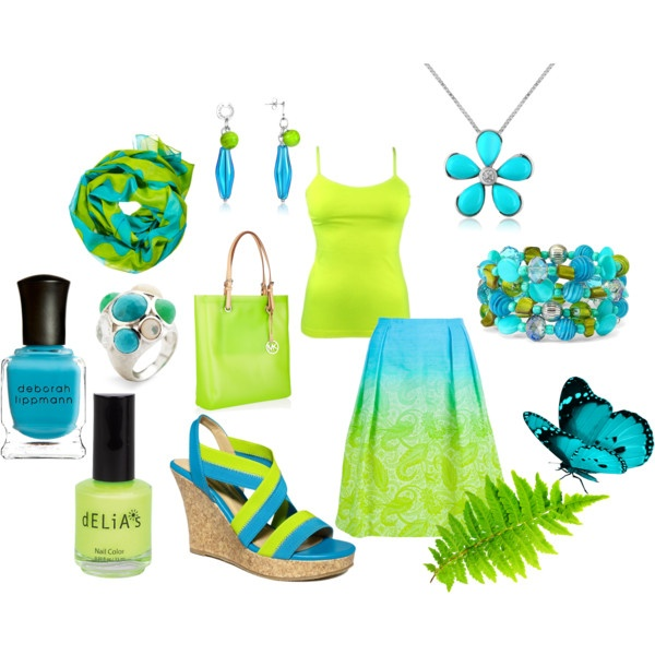 Teal & Lime Addiction, created by mrsschill9 on Polyvore