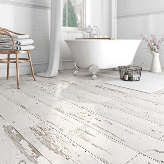 Waterproof Vinyl Flooring With A Whitewashed Shabby Chic Look Attic Bathroombathroom Ideasupstairs