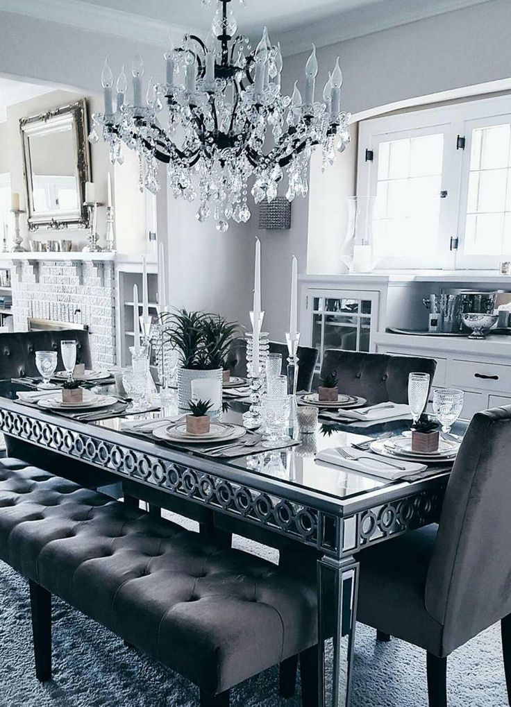 Chic Neutral Dining Room Styled With Sophie Mirrored Table And Lola Seating Collection