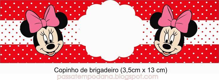 Minnie con Lunares en Rojo: Invitaciones y Etiquetas para Candy Bar para Imprimir Gratis.