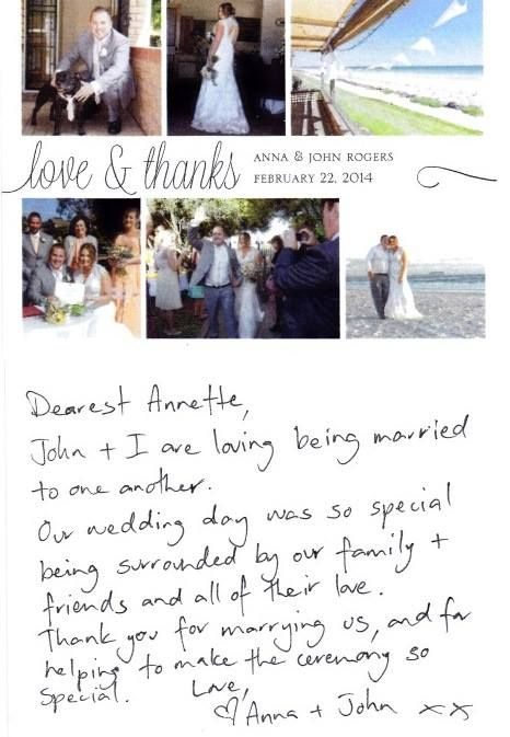 Thank you for my Thank You! Anna & John Rogers married February 22 2014 at Grange, South Australia. Lovely to hear that the honeymoon isn't over! xxAnnetteCMC