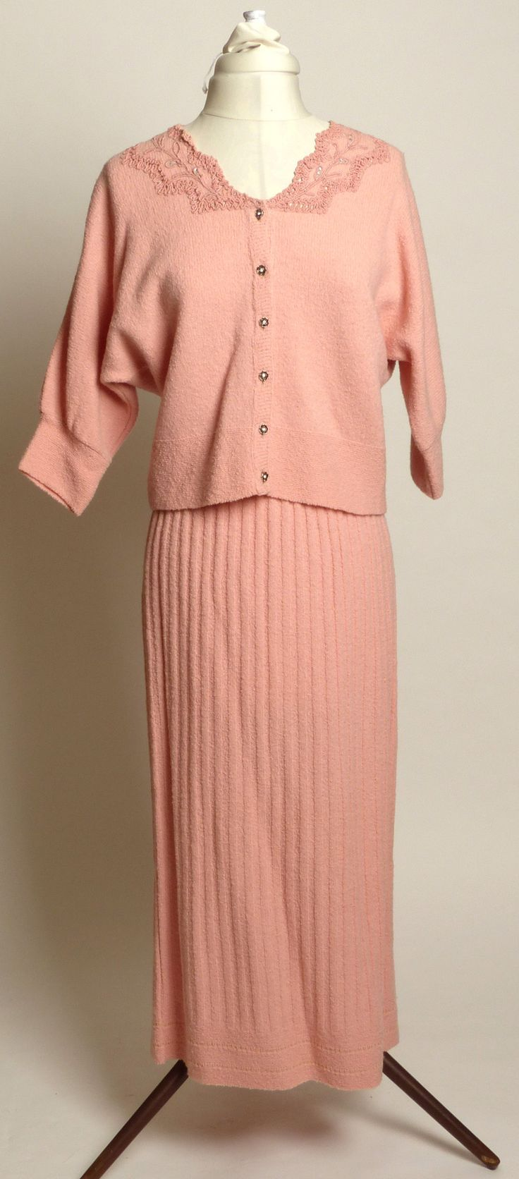 "Circa 1950s Jernat Pale Pink Wool Sweater/Skirt Set - ""Zip-off"" Hem!!"